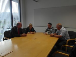 Edwina Hart, Minister for Economy, Science and Transport, David Rees AM meet with Steel Union representatives